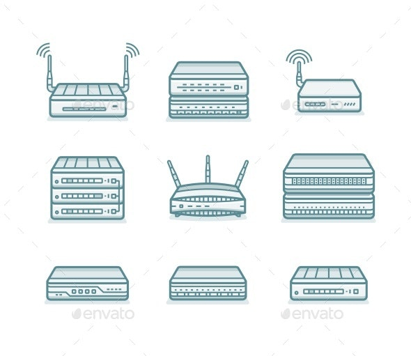 Network Router Icons - Computers Technology