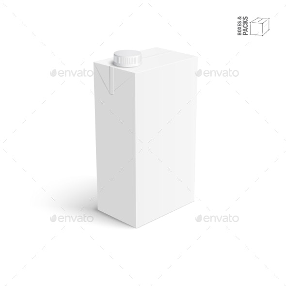 Juice and Milk Blank White Carton Box - Man-made Objects Objects