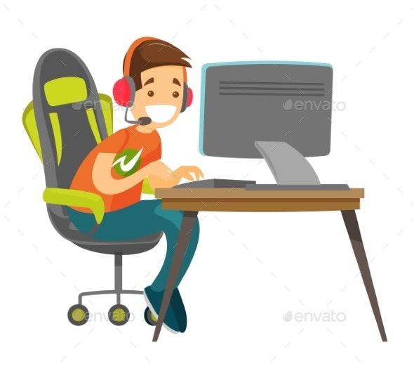 Young Gamer Playing Video Game By Visual Generation Graphicriver