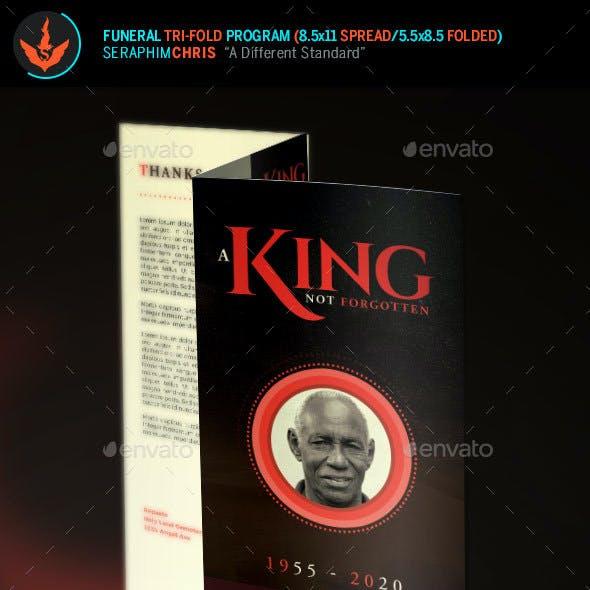 King Funeral Program Tri-Fold Brochure Template