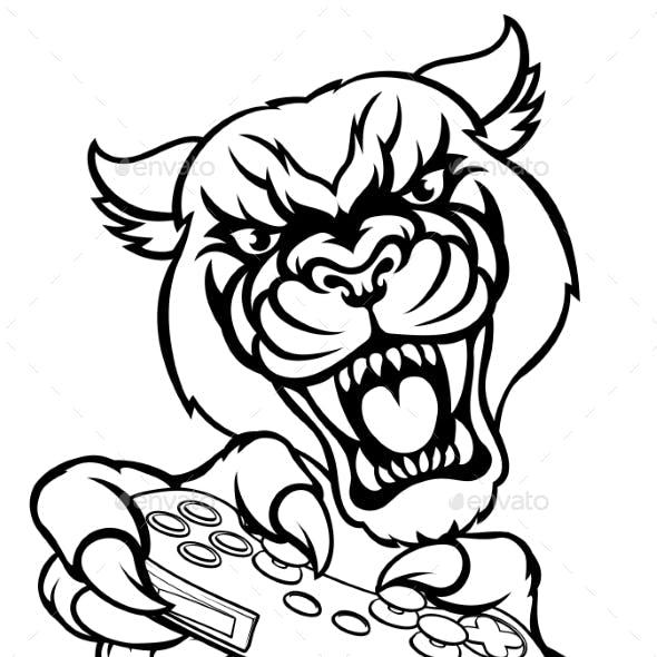 Black Panther Gamer Mascot