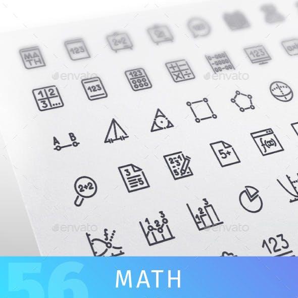 Math Line Icons Set