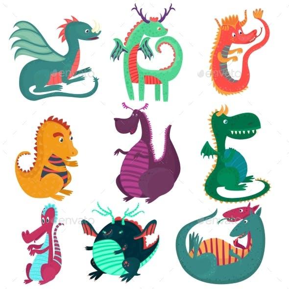 Dragon Characters Set, Childish