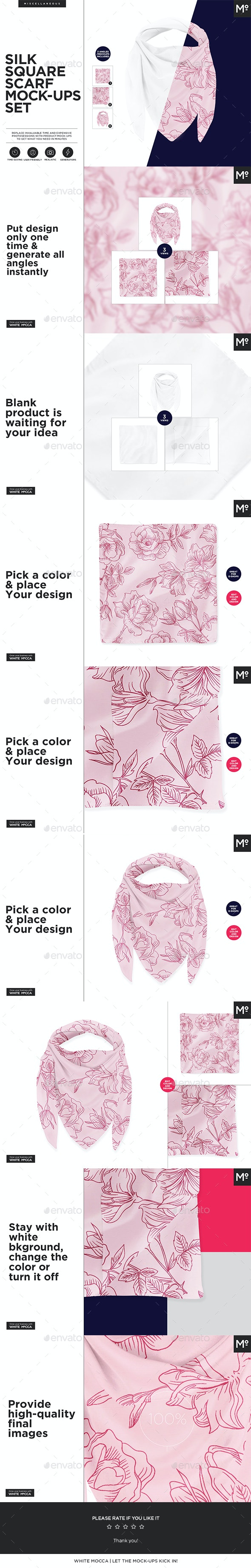 Silk Square Scarf Mock-ups Set by Mocca2Go | GraphicRiver