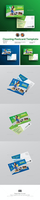 Clean Service Postcard Template - Cards & Invites Print Templates