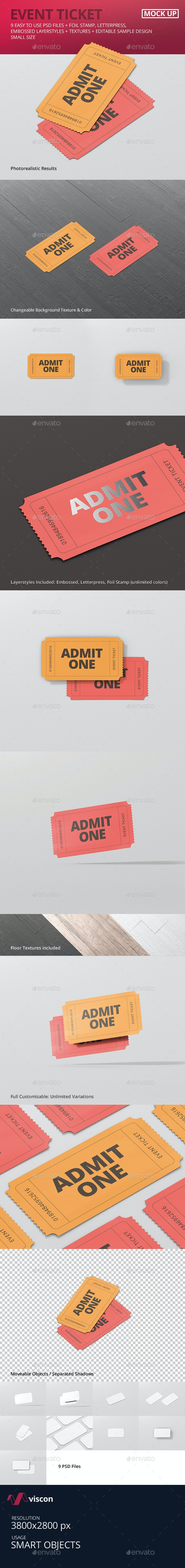 Event Ticket Mockup - Small Size - Miscellaneous Print