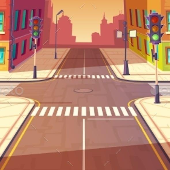 City Crossroads, Intersection Vector Illustration