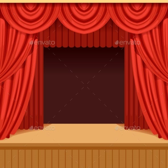 Theater Scene with Red Curtain and Dark Scenery