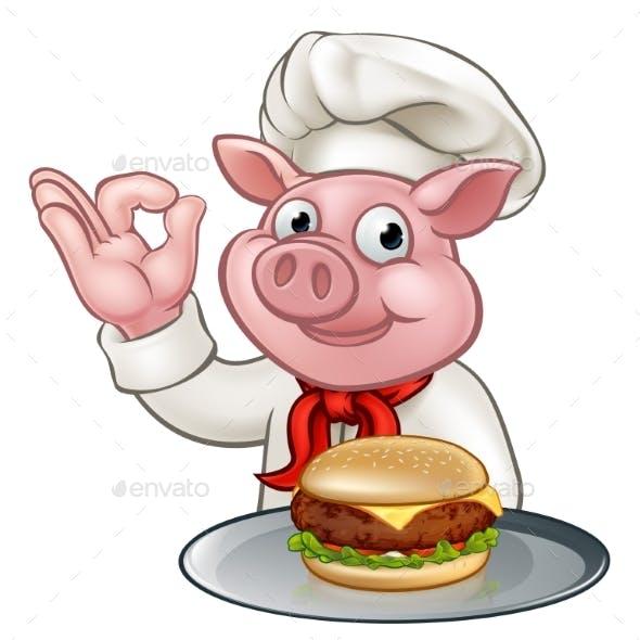 Pig Chef Holding Burger