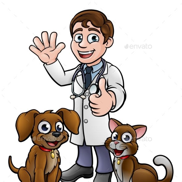 Vet with Pet Cat and Dog Cartoon Characters