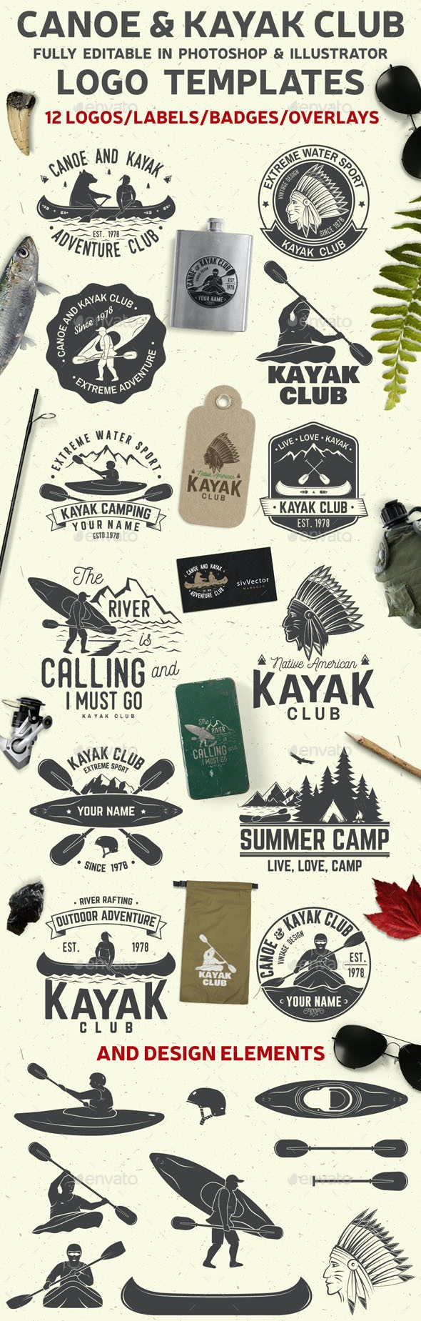 Canoe and Kayak Club Badge - Badges & Stickers Web Elements