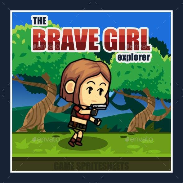The Brave Girl Adventurer 2D Game Character Sprite