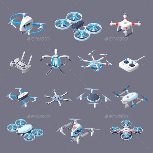 Drones Isometric Icons