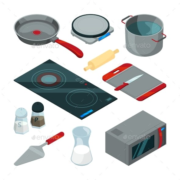 Kitchen Tools for Cooking. Isometric Pictures Set