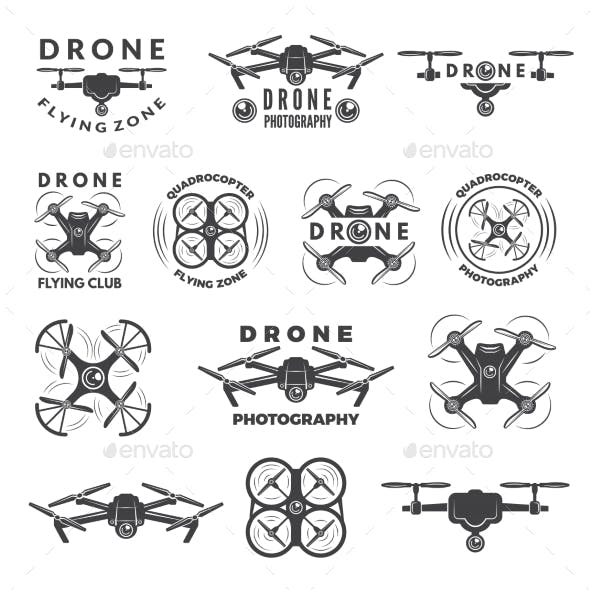 Set Labels with Different Illustrations of Drones