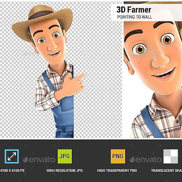 3D Farmer Pointing to Right Blank Wall