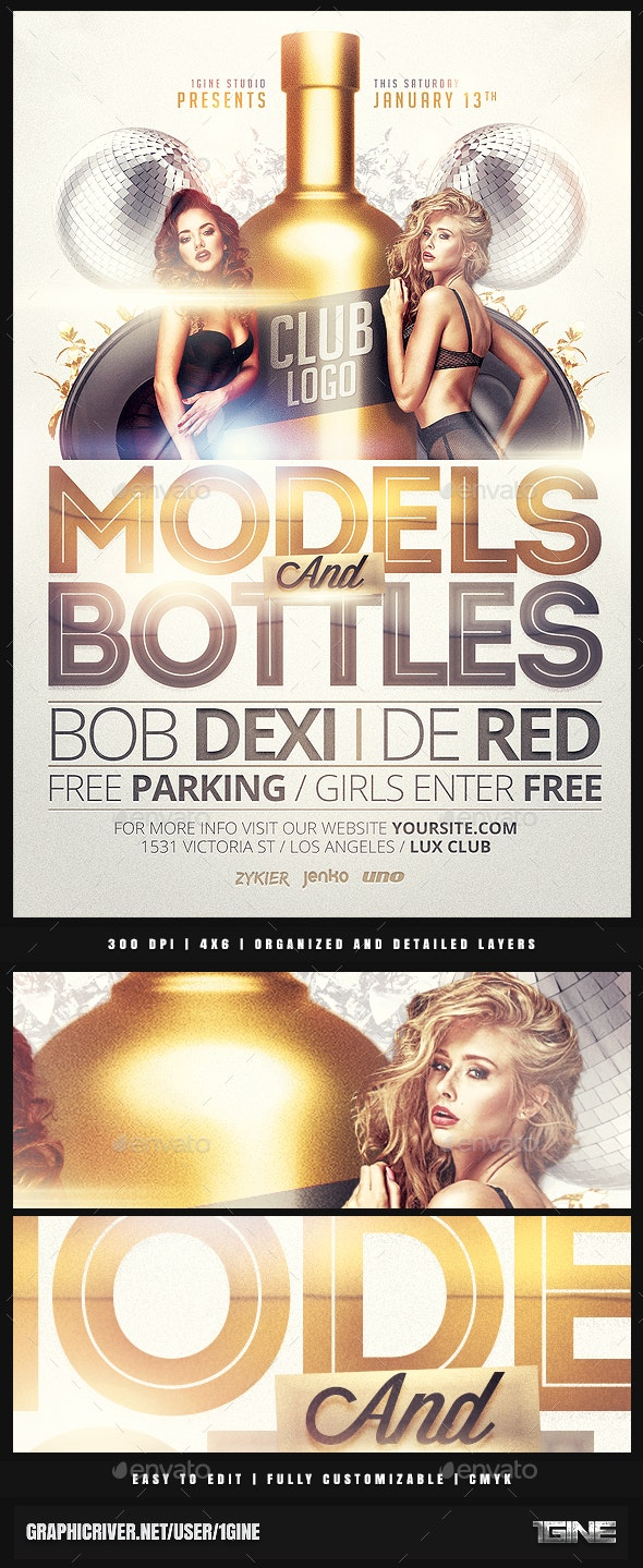 Models and Bottles Party Flyer Template - Clubs & Parties Events
