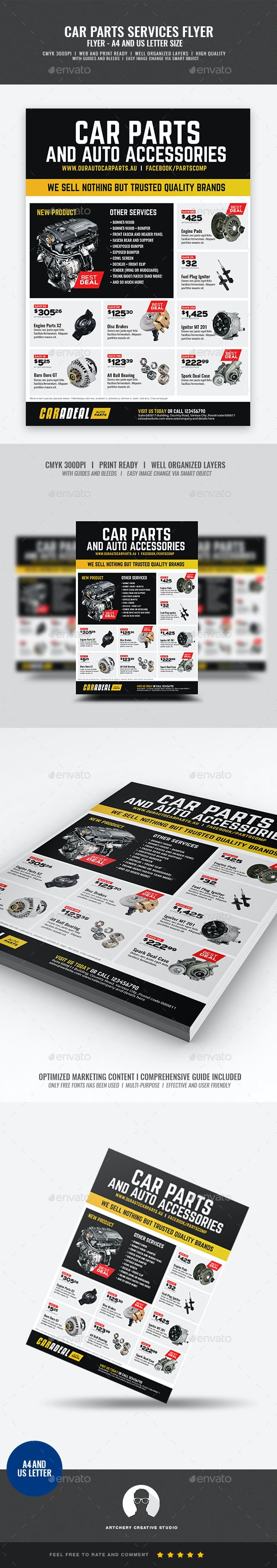 Auto Car Spare Parts Flyer - Corporate Flyers