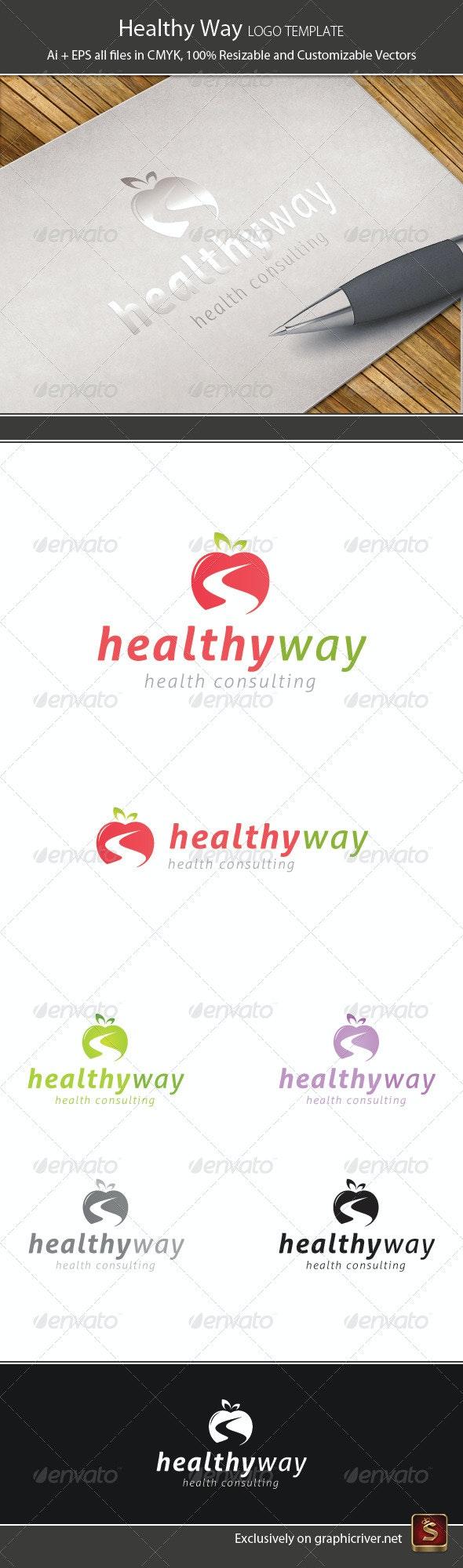 Healthy Way Logo Template - Vector Abstract