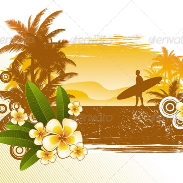 Tropical Flowers and Surfer