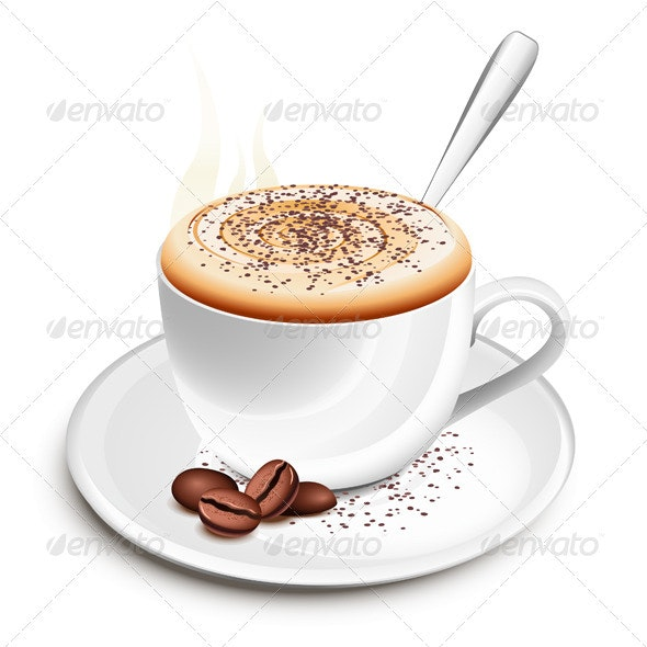 Cup of hot cappuccino - Food Objects