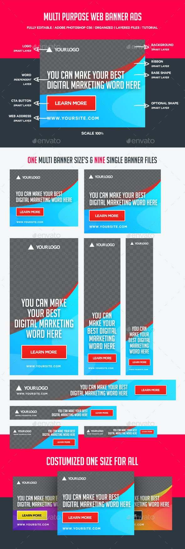 Multi Purpose Web Banner Ads - Banners & Ads Web Elements