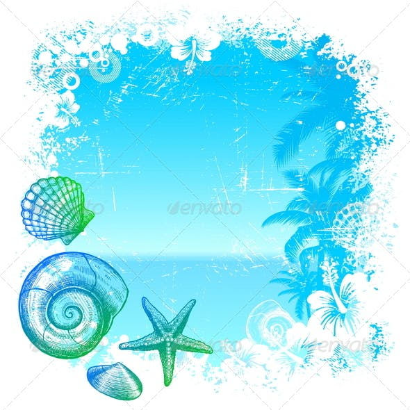 Tropical Background with Sea Fauna