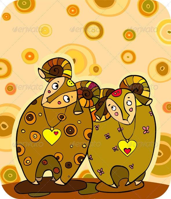 Sheep Love Cuple - Animals Characters