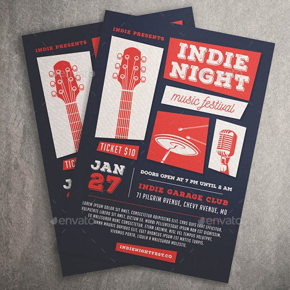 Indie Night Music Festival Flyer