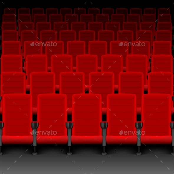 Realistic Cinema Hall Red Seats. Movie Theater