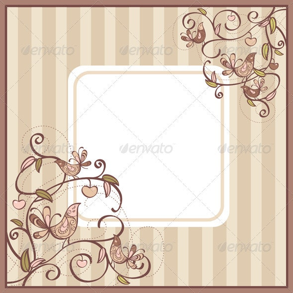 Card With Birds And Flowers - Borders Decorative