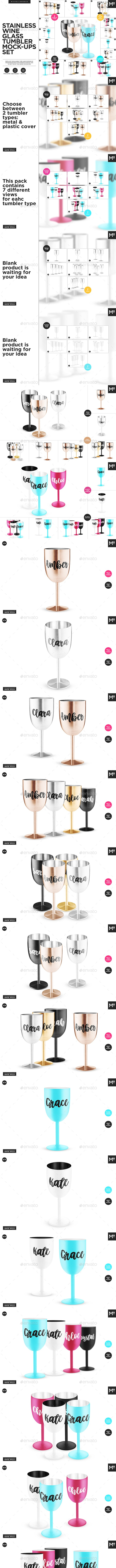 Stainless Wine Glass Tumblers Mock-ups Set - Food and Drink Packaging