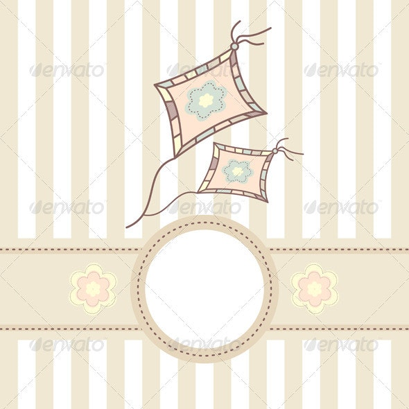 Baby Card With Kite - Borders Decorative