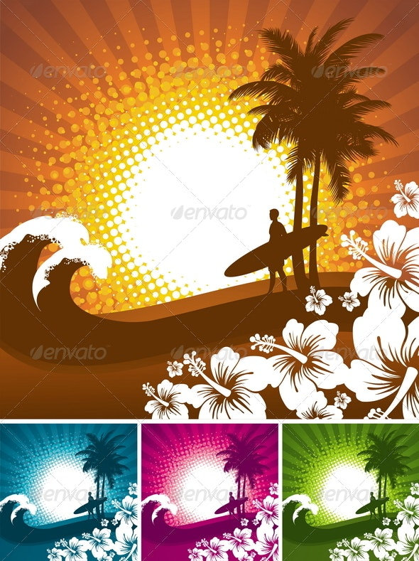 Abstract Tropical Illustration with Surfer  - Travel Conceptual