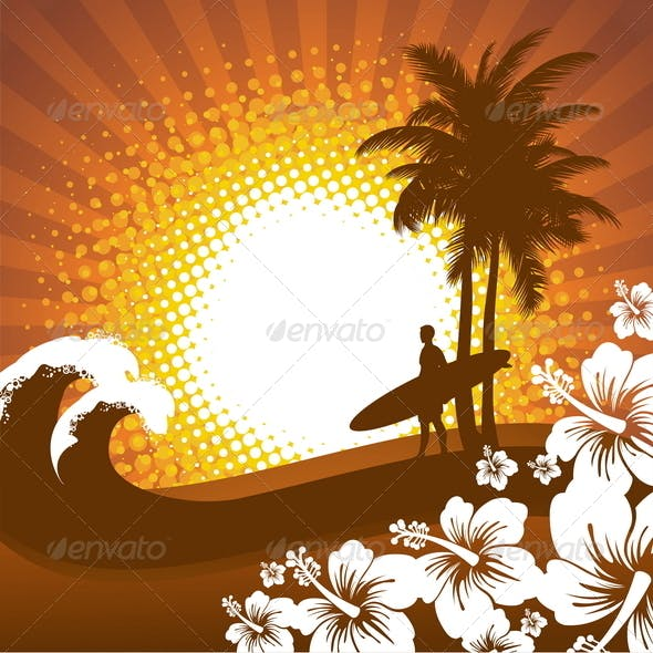 Abstract Tropical Illustration with Surfer
