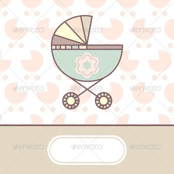 Baby Vector Card - Borders Decorative