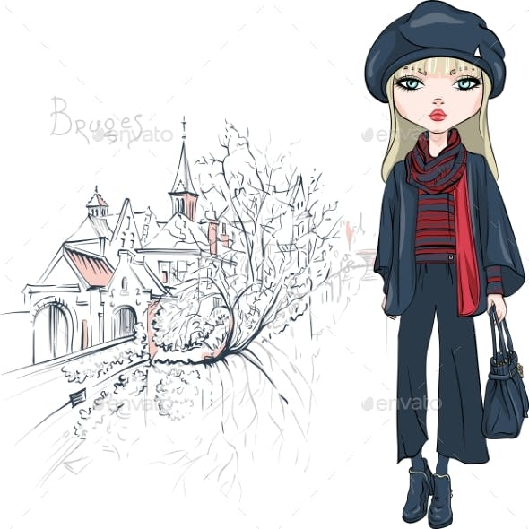 Vector Fashion Girl in Winter Clothes in Bruges