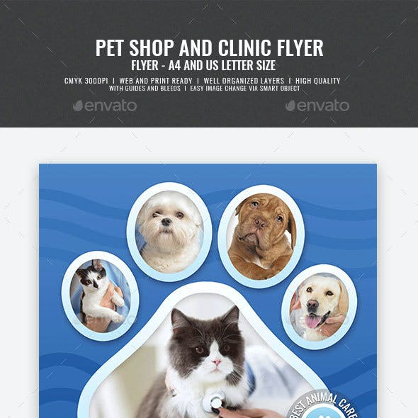 Pet Care Shop and Clinic Flyer