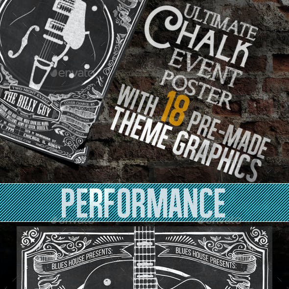 ChalkBoard Poster with 18 Graphic Choices