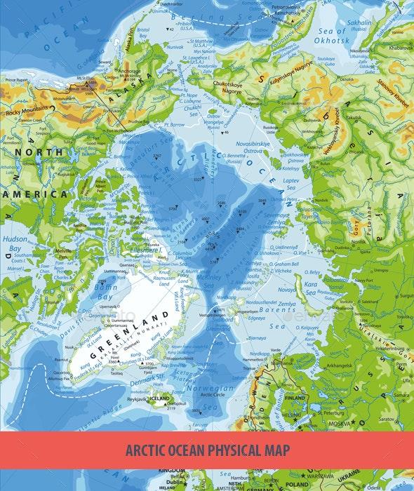 Arctic Ocean Physical Map - Travel Conceptual