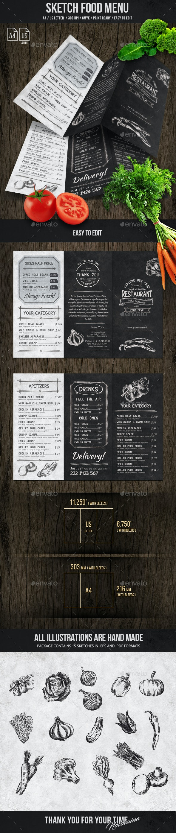 Sketch Trifold Food Menu A4 and US Letter - Food Menus Print Templates