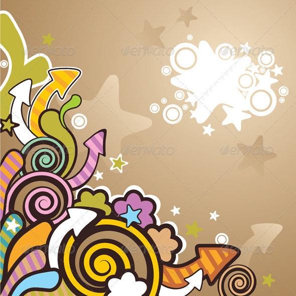Colorful Cartoon Background - Flourishes / Swirls Decorative