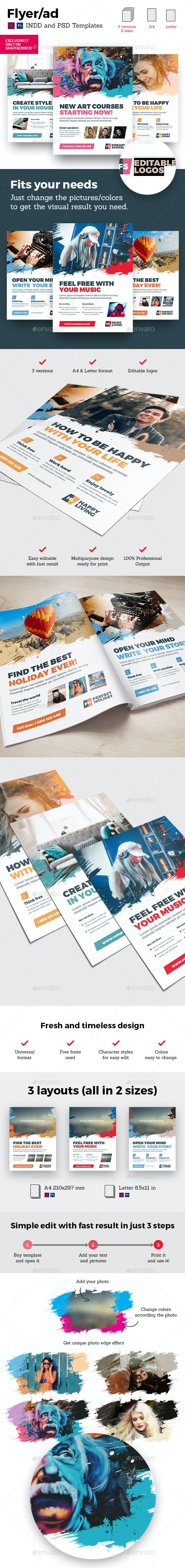 Art Business Universal Flyer/ad 3x InDesign and Photoshop Brush Distortion Template - Flyers Print Templates