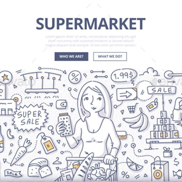 Supermarket Doodle Concept