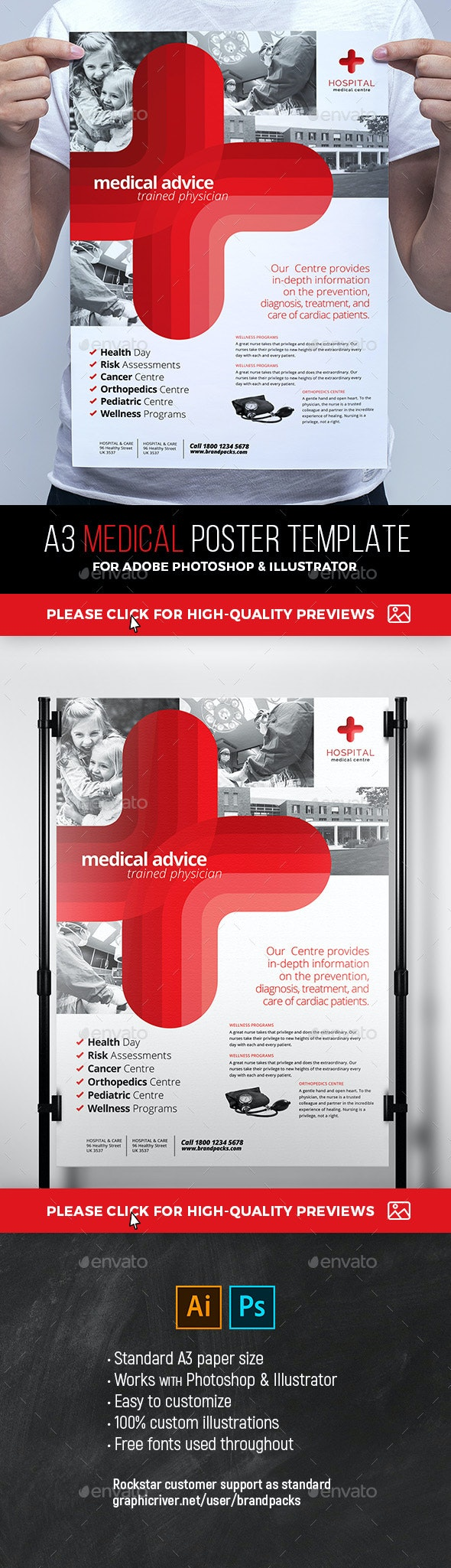 A3 Medical Poster Template - Signage Print Templates
