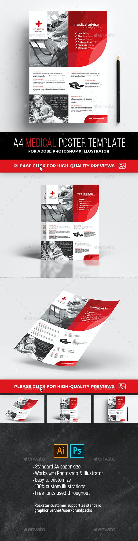 A4 Medical Poster Template - Corporate Flyers