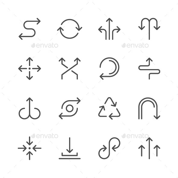 Set Line Icons of Arrows