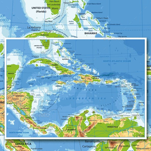 The Caribbean Physical Map