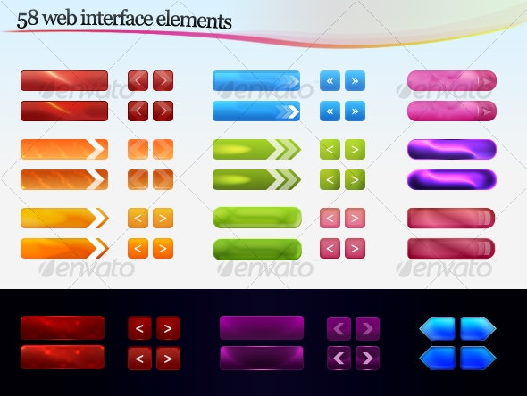 Web interface elements - Buttons Web Elements