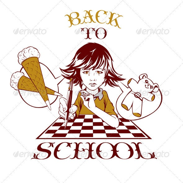 Cartoon Back School Girl  - People Characters